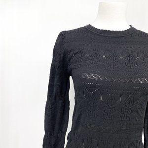 Current Air pointelle black lightweight sweater